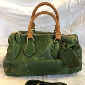 Vintage Prada olive/gold leather bag